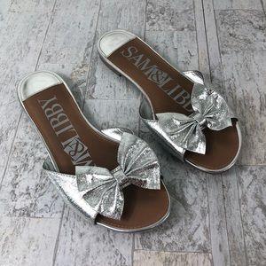 Sam & Libby Bow Slip On Sandal Silver Size 7